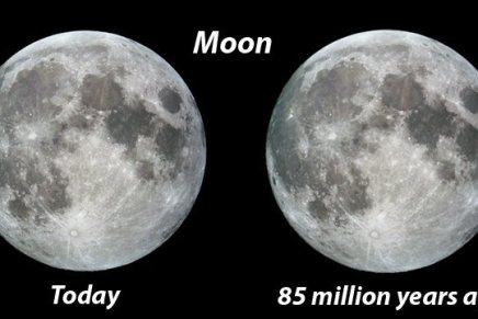 डायनोसौरों के युग में चंद्रमा पृथ्वी के कितना समीपथा?